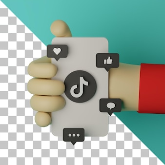 3d illustrazione mano che tiene il telefono cellulare con il logo tiktok reso lo sfondo per il concetto di marketing
