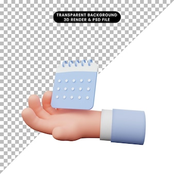 Illustrazione 3d della mano che tiene il calendario semplice