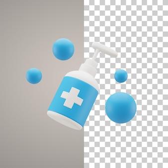 Disinfettante per le mani con illustrazione 3d