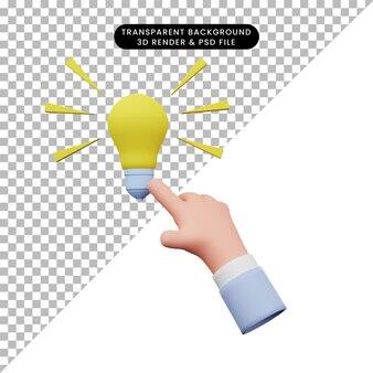 Illustrazione 3d della lampadina tattile a mano