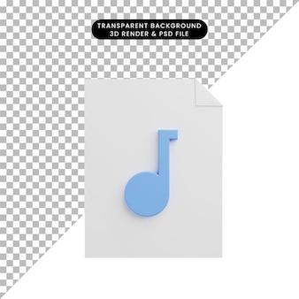 File cartaceo dell'icona dell'illustrazione 3d con l'icona della musica