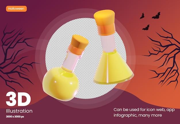Icona illustrazione 3d di pozione in vetro con tema halloween