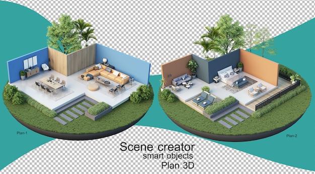 Illustrazione 3d della pianta interna dell'edificio e della residenza
