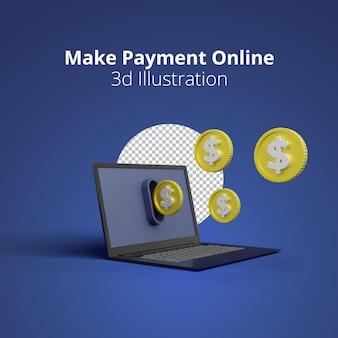 Illustrazione 3d dello schermo del laptop con il concetto di pagamento online su sfondo blu