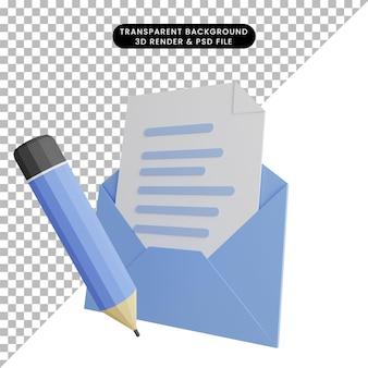 Illustrazione 3d della lettera aperta con la matita