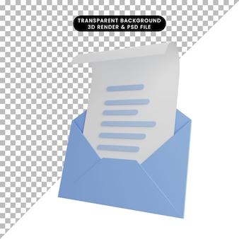 Illustrazione 3d della lettera aperta