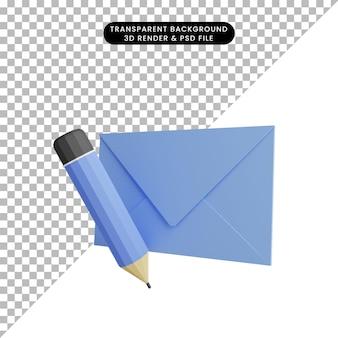 Illustrazione 3d della lettera con la matita