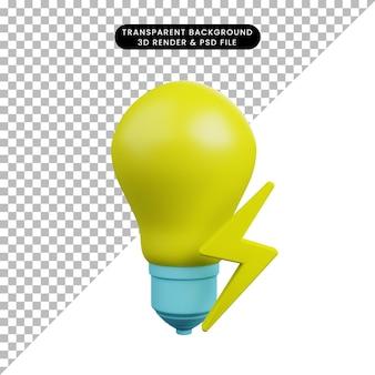 Illustrazione 3d della lampadina con l'icona elettrica