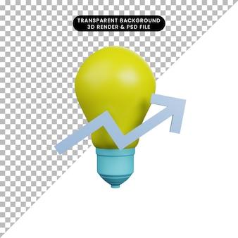 Illustrazione 3d della lampadina con il grafico in su