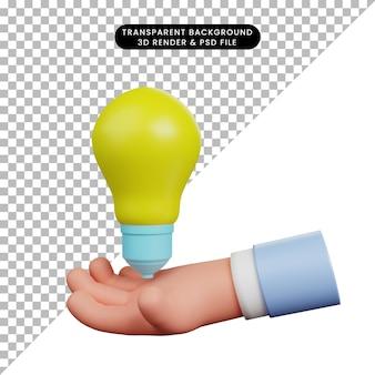 Illustrazione 3d della lampadina con la mano