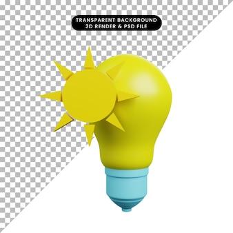 Illustrazione 3d della lampadina con il sole