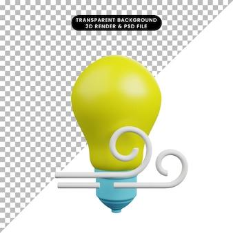 Illustrazione 3d della lampadina con vento