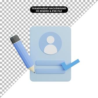Pagina di accesso dell'illustrazione 3d con matita e lista di controllo
