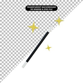 Bastone magico della bacchetta dell'illustrazione 3d con la scintilla