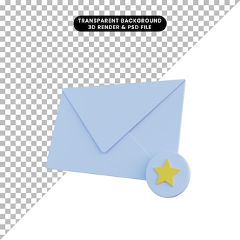 Posta di illustrazione 3d con icona preferita Psd Premium