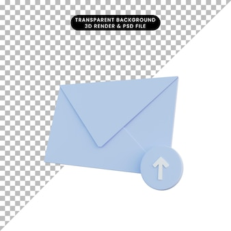 Posta di illustrazione 3d con icona di caricamento Psd Premium
