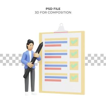 Illustrazione 3d di un uomo che ha completato la lista di controllo psd premium