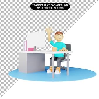 Illustrazione 3d dell'uomo davanti al computer con le mani in alto