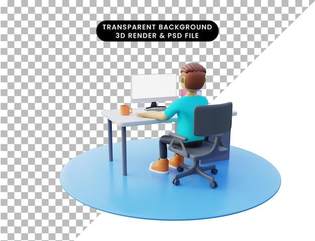 Illustrazione 3d uomo davanti al computer