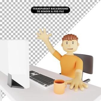 Illustrazione 3d dell'uomo davanti al monitor che fluttua
