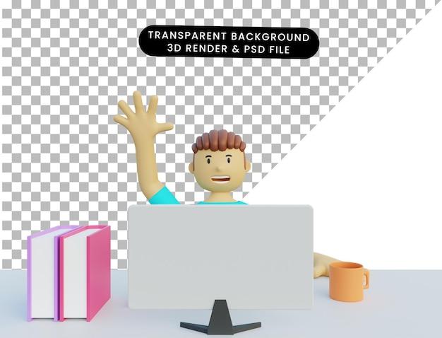 Uomo di illustrazione 3d nel monitor anteriore
