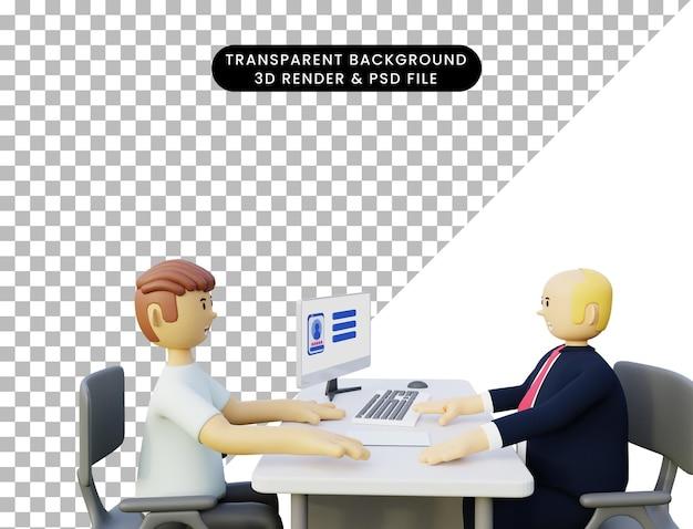 Illustrazione 3d dell'uomo durante un colloquio