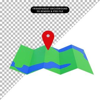 Mappa dell'illustrazione 3d con l'icona della posizione