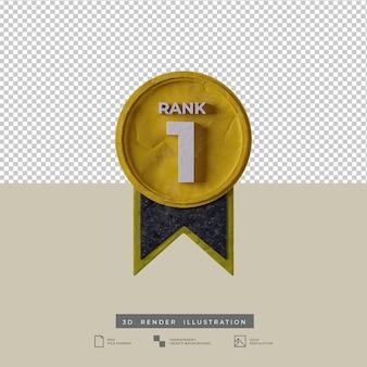 Vista frontale dell'icona del grado 1 della medaglia dell'illustrazione 3d