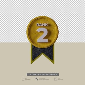 Vista frontale dell'icona di grado 2 della medaglia dell'illustrazione 3d