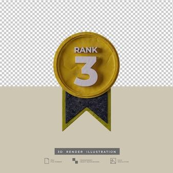 Vista frontale dell'icona di grado 3 della medaglia dell'illustrazione 3d