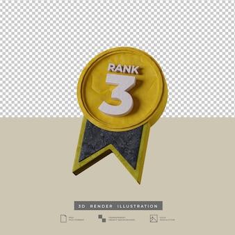 Icona 3d illustrazione medaglia di grado 3