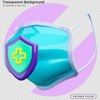Illustrazione 3d protezione maschera medica