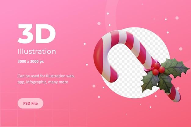 Illustrazione 3d caramella di buon natale fiore di stella di natale per la pubblicità infografica di app web