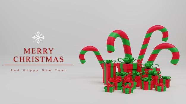 Fondo di concetto di buon natale dell'illustrazione 3d con il bastoncino di zucchero di natale, scatola regalo