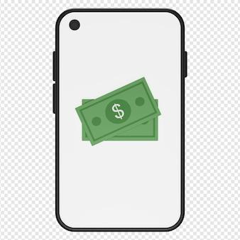 Illustrazione 3d di soldi nell'icona dello smartphone psd