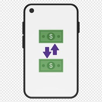 Illustrazione 3d del trasferimento di denaro nell'icona dello smartphone psd
