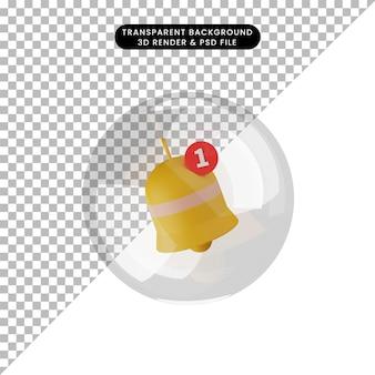 Illustrazione 3d della campana di notifica all'interno della bolla