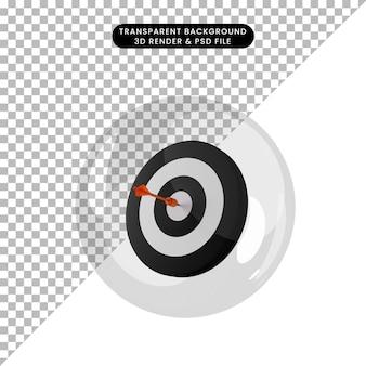 Illustrazione 3d del dardo dell'oggetto sul bersaglio all'interno delle bolle