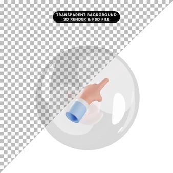 Illustrazione 3d del gesto della mano dell'oggetto che punta all'interno delle bolle