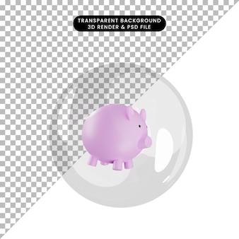 Illustrazione 3d di salvadanai oggetto all'interno di bolle