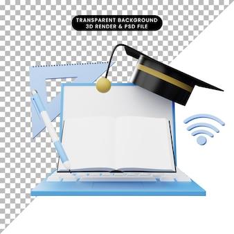 Illustrazione 3d dell'istruzione online
