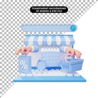 Illustrazione 3d del negozio online sul laptop