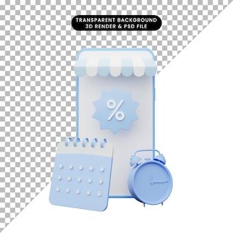 Illustrazione 3d del negozio online