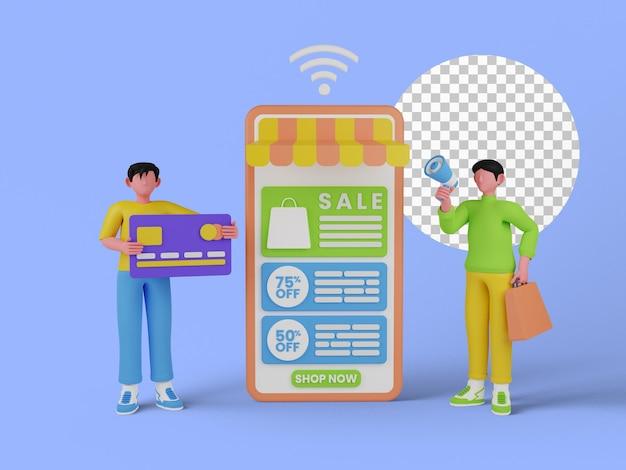 Illustrazione 3d del concetto di acquisto online per la pagina di destinazione