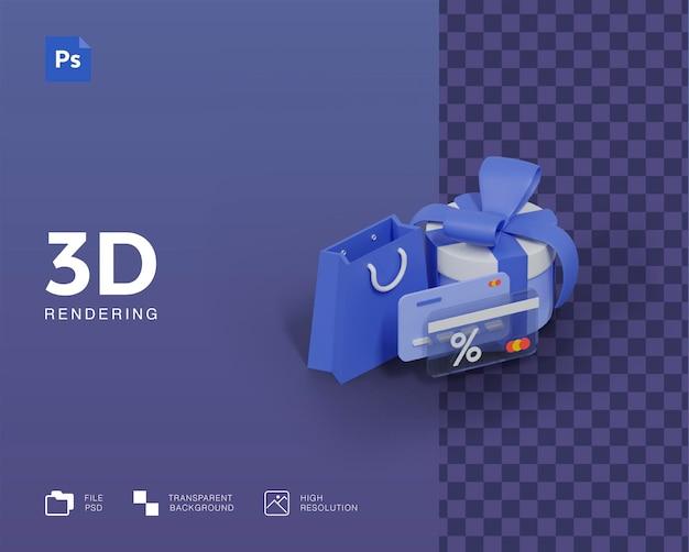 Illustrazione 3d, shopping online, pagamento con carta di credito