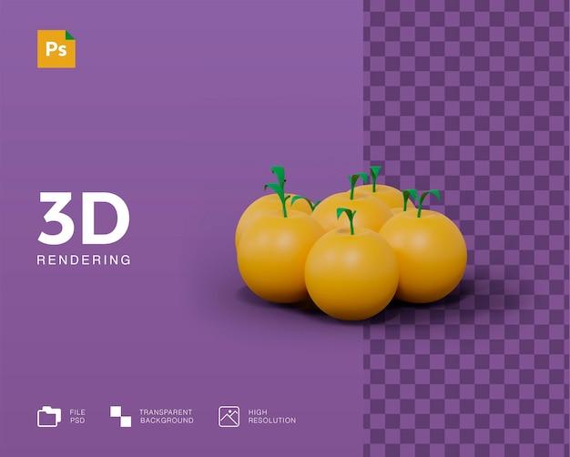 Illustrazione 3d frutta arancione