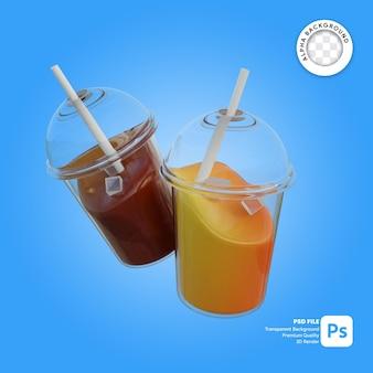 Illustrazione 3d di succo d'arancia e coca cola in un bicchiere di plastica