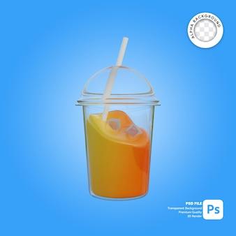 Illustrazione 3d di succo d'arancia in tazza di plastica