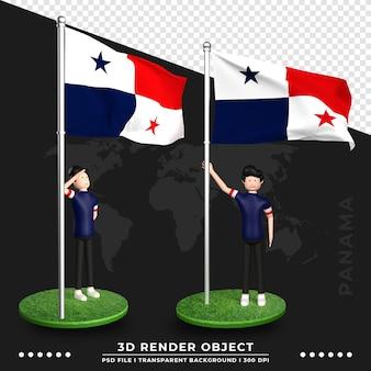 Illustrazione 3d della bandiera di panama con il personaggio dei cartoni animati della gente sveglia. rendering 3d.