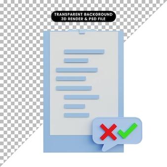 Cartoncino con illustrazione 3d con lista di controllo delle lettere e segno incrociato